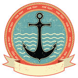 Nautical anchor.Vintage label Royalty Free Stock Images