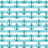 Nautical Anchors. Illustration pattern with nautical ship anchors in a light blue stripped background Stock Illustration