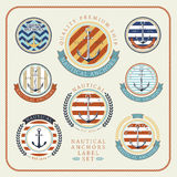 Nautical anchors label  set 01. Nautical anchors label  set in blue, yellow and red colours Royalty Free Stock Image