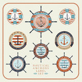 Nautical anchors label set 03. Nautical anchors label set in blue, yellow and red colours Royalty Free Illustration