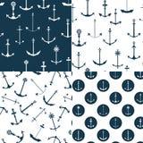 Nautical Anchors Seamless Patterns Stock Photos