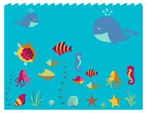 Nautical animal elements wave ocean sea blue marine vector illustration. Stock Image