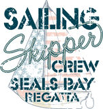 Sailing crew. Nautical artwork for boy t shirt in custom colors Royalty Free Stock Photos
