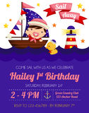 Nautical baby girl invitation Royalty Free Stock Photography