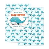 Nautical baby shower card. Sea theme baby party invitation with whale royalty free illustration