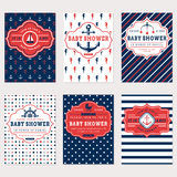 Nautical baby shower cards. Sea theme baby party invitations. Collection of cute banners in white, red and blue colors. Vector set Stock Image