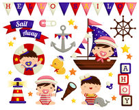 Nautical baby vector set Royalty Free Stock Photos