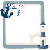 Nautical background. Vector illustration of lighthouse and anchor Royalty Free Stock Image