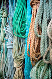 Nautical background. Closeup of old colorful mooring ropes , Old Stock Photos