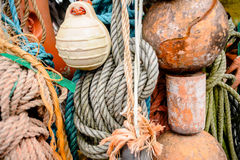 Nautical background. Closeup of old colorful mooring ropes , Old Stock Photography