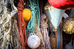 Nautical background. Closeup of old colorful mooring ropes , Old Royalty Free Stock Image