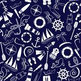Ocean2. Nautical background. Line art style. Seamless pattern. Vector illustration Royalty Free Stock Photo
