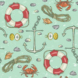 Nautical background, Marine pattern Stock Images