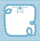 Nautical background with rope. Blue and white marine background with ropes and steering wheel stock illustration