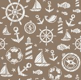 Nautical background, seamless, brown, vector. The attributes of a sea voyage on a brown background. White pictures drawn with diagonal hatching. Vector pattern Stock Images