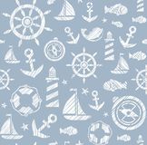 Nautical background, seamless, gray, vector. The attributes of a sea voyage on a gray background. White pictures drawn with diagonal hatching. Vector pattern Royalty Free Stock Photos