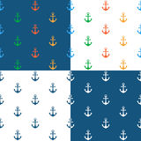 Nautical background seamless pattern with anchor Royalty Free Stock Photography