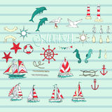 Nautical background with ships Stock Photo