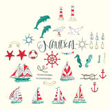 Nautical background with ships Stock Photos