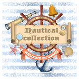 Nautical background with text Stock Photos