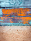 Nautical background with weathered blue wood Royalty Free Stock Photo