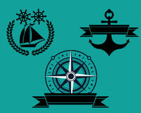 Nautical badge. Three kinds of nautical badge Stock Photography