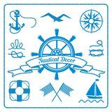 Nautical badges and decor Royalty Free Stock Image