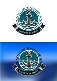 Nautical badges with ships anchors Stock Images