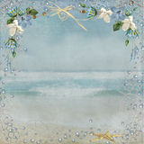 Nautical Beach Frame. Tropical flowers and bubbles in fish net Stock Images
