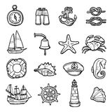 Nautical Black White Icons Set. With anchor compass and seashells flat isolated vector illustration Stock Image