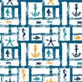 Nautical blue orange and white grunge lattice with anchor, star and fishes, seamless pattern, vector Stock Image