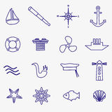 Nautical blue simple outline icons set Royalty Free Stock Images