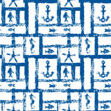 Nautical blue and white grunge lattice with anchor, star and fishes, seamless pattern, vector Stock Photo