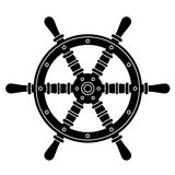 Nautical boat steering wheel silhouette Royalty Free Stock Photos