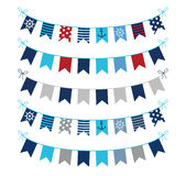 Nautical buntings in blue, red and grey Stock Photography