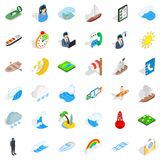 Nautical business icons set, isometric style. Nautical business icons set. Isometric set of 36 nautical business vector icons for web isolated on white Stock Photography