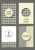Nautical card with anchor on striped background for invitation. Retro Patterns for Placards, Posters, Flyers and Banner Designs. Set of brochures Stock Illustration