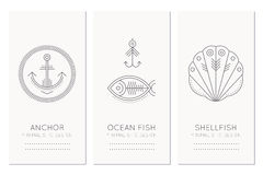 Nautical card design template with thin line style illustrations of fish, fishing hook, anchor, shellfish. Minimalistic monochrome marine theme tags Royalty Free Stock Photo