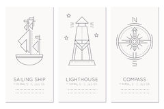 Nautical card design template with thin line style illustrations of sailing ship, lighthouse and compass rose Stock Photos