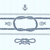 Nautical card with frame, anchor,marine knots, ropes and fish. Royalty Free Stock Image