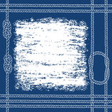Nautical card with frame, marine knots and ropes, on blue  backg Stock Photography