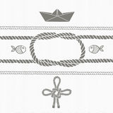 Nautical card with frame, marine knots, ropes, boat and fish. Royalty Free Stock Image