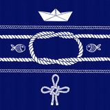 Nautical card with frame, marine knots, ropes, boat and fish. Stock Photo