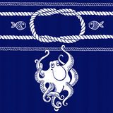 Nautical card with frame, marine knots, ropes, octopus and fish. Stock Image