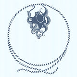 Nautical card with frame, marine knots, ropes and octopus.Vector Stock Photography