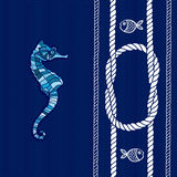Nautical card with frame, marine knots, ropes, sea horse and fis Royalty Free Stock Photography