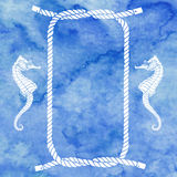 Nautical card with frame, marine knots, ropes  and  seahorse Stock Photo