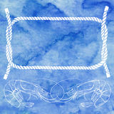 Nautical card with frame, marine knots, ropes  and shrimps on bl Royalty Free Stock Photo