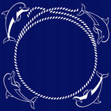 Nautical card with round frame, marine knots, ropes and dolphins Royalty Free Stock Photos