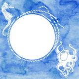 Nautical card with round frame, marine  rope, octopus Stock Photography